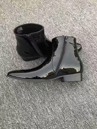 Boot Tennis Shoes Canada - new men leather boots patent leather booties male point toe mujer botas party shoes black mirror leather bota male runway tennis footwear