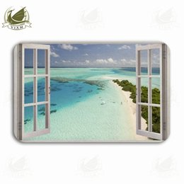 view light Australia - Vixm Tropical Beach With View From The Window Welcome Door Mat Rugs Flannel Anti-slip Entrance Indoor Kitchen Bath Carpet