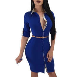 China EleCasual Women Office Pencil Slim Dress With Belt Female Party Plaid Printing Turn-Down Collar Neck Buttons OL Dresses cheap dress ol slim suppliers