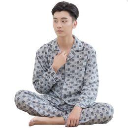 7d54a760d2e6 summer men home pajamas 2019 - Spring Summer NEW Men 2PCS Sleep Set Casual Sleepwear  Cotton