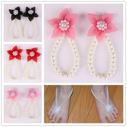 foot ornament baby Australia - New Arrival kids Flower Sandals baby Barefoot Sandals Chiffon flower shoes Newborn Baby Girls Foot Band Toe Rings Foot ornament KFA40