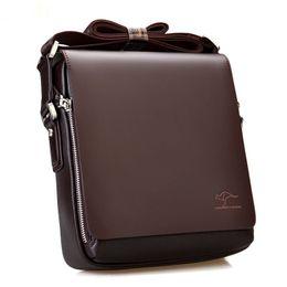 Discount men leather shoulder bag kangaroo - 2018 New Design Kangaroo Men Messenger Bags Pu Leather Shoulder Bags For Men Handbag Crossbody Bag Casual Male Briefcase
