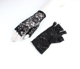 $enCountryForm.capitalKeyWord Australia - Thin short half finger gloves bud silk screen yarn half cut fingerless sunscreen elastic sexy hollow bride gloves
