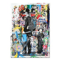 $enCountryForm.capitalKeyWord UK - Free Shipping,Hand-painted & HD Print Modern Abstract Graffiti Pop Art Oil painting Charlie Chaplin,On Canvas,Home Deco Wall Art g295
