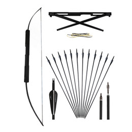 $enCountryForm.capitalKeyWord UK - 40-60lbs Archery 59'' Folding Straight Bow Portable Aluminum Alloy Hunting Shooting with 12pcs Carbon Arrows Screw-in Broadheads Points Tips