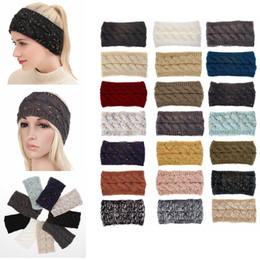 Knit Hairband Crochet Headband Knitting Hairband Warmer Winter Head Wrap Headwrap Ear Warmer Bandanas Hair Accessories 21colors GGA1346 on Sale