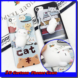 cuna de gatos al por mayor-2017 Divertido D Dibujos animados Kitty Cat Thonos Casos Silicone Squeeze Stress Aliviega Squishy Soft TPU para iPhone S Plus Cradle