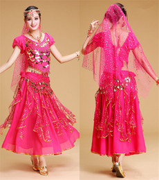 ruffled veil NZ - 6 Color Stage Performance Oriental Belly Dancing Clothes 4-piece Chiffon Short Sleeve Top&Coin belt &Skirt &veil Belly Dance Costume M004