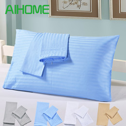Pair Bedding Australia - 1 Pair Solid Color Pillow Case Twin Queen King Rectangular Blue  Grey  Golden  White Pillowcase Sleeping Bed Pillow Cover Free Ship