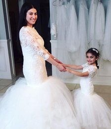 LittLe mermaid baLLs online shopping - 2019 White Lace Flower Girls Dresses For Weddings Beauty Short Sleeves Mermaid Girl Birthday Party Dress Trumpet Little Girls Pageant Wear