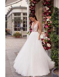 $enCountryForm.capitalKeyWord Australia - 2018 Milla Nova V Neck Tulle A Line Wedding Dresses Lace Applique Beaded Top Sweep Train Wedding Bridal Gowns..