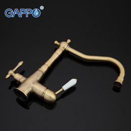 Brushed Brass Kitchen Faucet Australia - GAPPO 1set gold vintage antique brass deck kitchen filter faucet kitchen sink tap cold and hot water tap mixer G4391-4