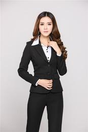 8c32b949200 Nuevos trajes de negocios profesionales para mujeres Pantalones y tops de  trabajo de oficina Pants 2018 Otoño de invierno uniformes de esteticistas  Blazers ...