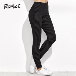 cdfc29c1ce58a Romwe Sport Black and White Vertical Striped High Waist Leggings 2018  Regular Fit Pants Ladies Sporty Crop Active Wear Trousers