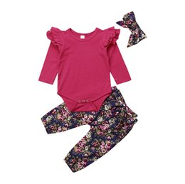 d30fe39c1 Toddler Newborn Baby Girl Solid Tops Romper Floral Long Pants Leggings  Headband 3Pcs Outfits Clothes Set