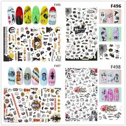 Halloween Nail Art Australia - 1 Sheet Halloween 3D Nail Stickers Stereoscopic Pattern 3D Nail Art Stickers Decals Adhesive Manicure Art Tips Decoration