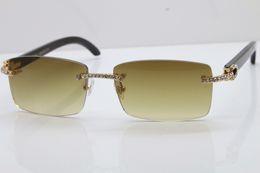Discount stones sunglasses - 2018 New Rimless Smaller Big Stones 3524012 Original Black Buffalo Sunglasses Limited edition Luxury Brand Sun Glasses 1