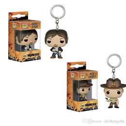 $enCountryForm.capitalKeyWord Australia - Wholesale price Funko Pocket POP Keychain - Rick Grimes Vinyl Figure Keyring with Box Toy Doll Gift Good Quality