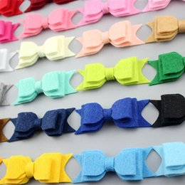 Wholesale 2017 hot selling new style girls handmade decorative solid felt hair bow for baby headband from china supplier