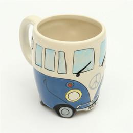 CeramiC lids online shopping - Handgrip Cute Originality Ceramic Cups Hand Painting Retro Double Decker Bus Mug Coffee Milk Tea Cup Water Bottle Drinkware Gift