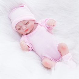girls silicone dolls Canada - 10 inches Dolls Reborn Newborn Baby Realike Doll Handmade Lifelike Silicone Vinyl Weighted Alive Doll for Toddler Gifts Kids Playmate Gifts