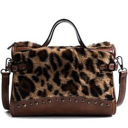 $enCountryForm.capitalKeyWord NZ - Designer High Quality Faux Fur Leopard Print Women Handbags Retro Rivet Shoulder Messenger Bag Bolsos Fashion Boston Tote Bags