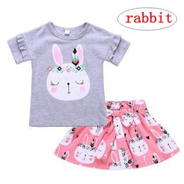 $enCountryForm.capitalKeyWord Australia - 1-5T Baby Girls 2pcs set Cartoon Rabbit print Short Sleeve Tops Bowknot Skirt Outfits Summer Cloth