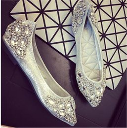 Discount flat shoes korean styles - Wedding shoes Ballet Flats Rhinestones Pointed toe Big Crystal shoes Bride shoes Gold Black Silver Korean style