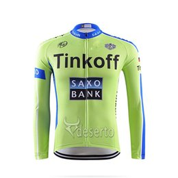 Discount jersey cycling saxo green - 2018 Tinkoff saxo cycling long sleeve jerseys ropa ciclismo 100% Polyester quick dry mens cycling clothing outdoor sport