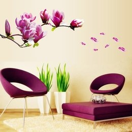 $enCountryForm.capitalKeyWord NZ - Romantic Flowers Wall Stickers Mangnolia wall Sticker Removable DIY Art Decals Vinyl Wallpaper Mural Living Room Bedroom Home Decor