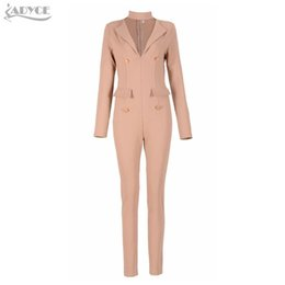 26ff7e9ced Wholesale- 2016 Winter womens rompers jumpsuit Apricot long sleeve button  turn-down collar business wear celebrity runway bodycon bodysuit