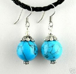 China Drop Beads NZ - 10Pairs 20PCS Asian Turquoise Beads Drop Earrings Wholesale