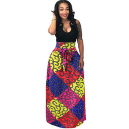 $enCountryForm.capitalKeyWord UK - African Women Boho Dashiki Dress Long Maxi Pleated Skirt Printing Bust Skirt Ball Gown Maxi Skirts Big Size 4XL