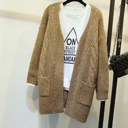 $enCountryForm.capitalKeyWord NZ - Long Sleeve Women Long Sleeve Pocket Cardigan Sweater Spring Autumn Ladies Cute Crochet Cardigans Sweaters Outfit Tops