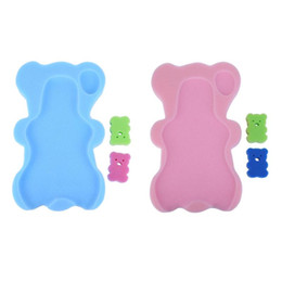 China Cartoon Bear Shape Baby Bath Holder with Bathing Brush Cute Baby Infant Showing Holder Pocket Bed Anti-slip Shower Cushion supplier framed shower suppliers