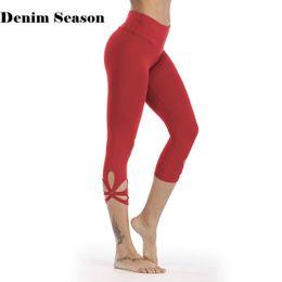 $enCountryForm.capitalKeyWord NZ - DenimSeason Women Floral Leggings Capri Tights Running 3 4 Length Fitness Yoga Pants Solid Gym Exercise Quick Dry Sport Trousers