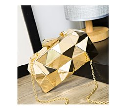 dark silver clutch bag NZ - Women Metal Clutches Top Quality Hexagon Mini Party Black Evening Purse Silver Bags Gold Box Clutch