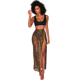 China Sexy Women Two Piece Set Crop Bra Top Sheer Mesh Sequin Plaid Split Skirt High Waist Vest Skirt Set Party Nightclub Outfit Black cheap dresses tops suppliers