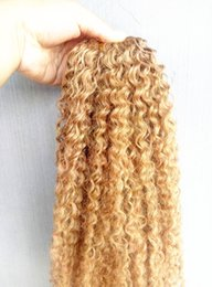 brazilian human hair for weaving Australia - Brazilian Human Virgin Remy Kinky Curly Hair Extensions Dark Blonde 27# Color Hair Weft 2-3Bundles For Full Head
