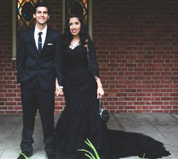 black gothic mermaid wedding dresses UK - Gothic Design Black Wedding Dresses Sweetheart Beaded Lace Pleats Tulle Mermaid Vintage Bridal Gowns Custom Size