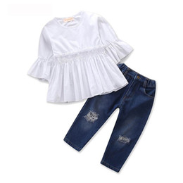 China Retail Girl Summer Clothing Sets Half Sleeve Ruffle Shirts+Jeans Two Piece Fashion Sister Outfits Kids Clothing 2-7 Years E18008 supplier sisters clothing set suppliers