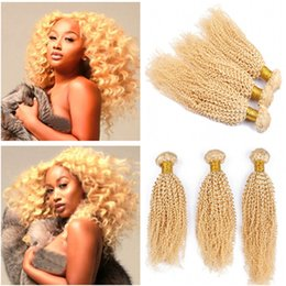 """afro kinky hair extensions 613 2018 - Kinky Curly #613 Golden Blonde Peruvian Human Hair Weave Bundles 10-30"""" Afro Curly Virgin Human Hair Extensions Per"""