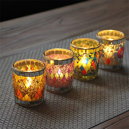 $enCountryForm.capitalKeyWord NZ - Classic Vintage Mosaic Small Cup Shape Candlestick Romantic Colorful Crack For Home Decor Wedding Party Gifts Candle Holders 7zb Z