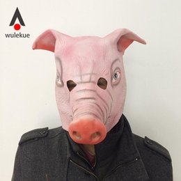 Pig Face Masks Australia - WULEKUE Halloween Horror Mask Full Face Cosplay Pig Head Scary Masquerade Terror High quality Party Helloween Accessories