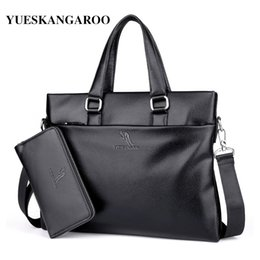 Discount men leather shoulder bag kangaroo - YUES KANGAROO Famous Brand Leather Men Bags A4 Document Business Briefcase 2017 New Handbag Male Crossbody Shoulder bags