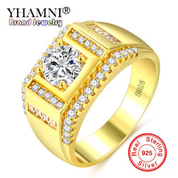 925 china cz white gold UK - YHAMNI New Fashion Men 925 Silver Ring Gold Color Zircon CZ Engagement Ring Men Fine Jewelry KYRA0117