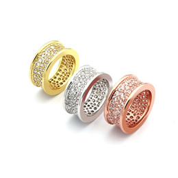 Stainless Steel Jewelry Brands UK - Crazy promotion Drop shipping small waist waist ring CZ full sky star luxury rose gold men and women small waist ring brand jewelry gift