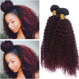 red wine ombre human hair weave NZ - Kinky Curly #1B 99J Wine Red Ombre Virgin Indian Human Hair Bundles 3Pcs Black and Burgundy Two Tone Ombre Human Hair Weave Extensions
