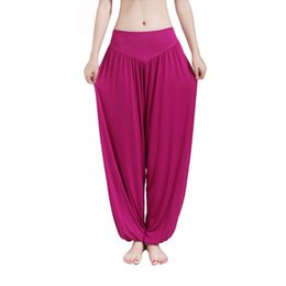 womens wide leg trousers UK - MOBTRS Women Casual Harem Pants High Waist Dance Pants Woman Fashion Wide Leg Loose Trousers Bloomers Pants Womens Plus Size S914