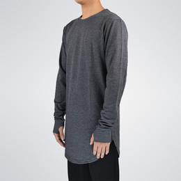 Wear Hip Hop Shirt Men Canada - Mens Hip Hop T Shirt Full Long Sleeve T -Shirt With Thumb Hole Cuffs Tees Shirts Curve Hem Men Street Wear Tops